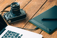 Διάστημα εργασίας για το φωτογράφο Στοκ Εικόνες