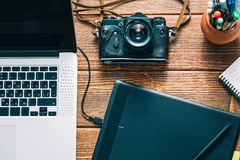 Διάστημα εργασίας για το φωτογράφο Στοκ φωτογραφία με δικαίωμα ελεύθερης χρήσης