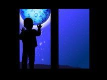 Διάστημα και ένα παιδί που φαίνεται έξω το φεγγάρι παραθύρων απεικόνιση αποθεμάτων