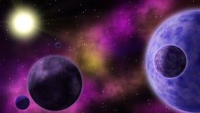 Διάστημα και πλανήτες νεφελώματος Loopable ελεύθερη απεικόνιση δικαιώματος
