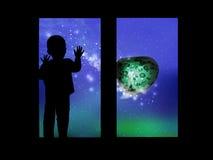 Διάστημα και το παιδί που φαίνεται έξω το παράθυρο απεικόνιση αποθεμάτων
