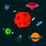 Διάστημα με το διαστημόπλοιο, το ufo και τους πλανήτες Στοκ φωτογραφία με δικαίωμα ελεύθερης χρήσης
