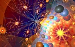 Διάστημα μικροϋπολογιστών fractal σχεδίου καρτών ανασκόπησης καλή αφίσα Στοκ Φωτογραφίες