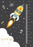 Διάστημα, τοίχος μετρητών ή μετρητής ύψους από 50 έως 180 το εκατοστόμετρο, διανυσματικές απεικονίσεις ελεύθερη απεικόνιση δικαιώματος
