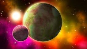 Διάστημα sci-Fi με τους πλανήτες και τα νεφελώματα κύκλος διανυσματική απεικόνιση