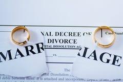 Διάταγμα διαζυγίου και δύο σπασμένα γαμήλια δαχτυλίδια στοκ εικόνες με δικαίωμα ελεύθερης χρήσης