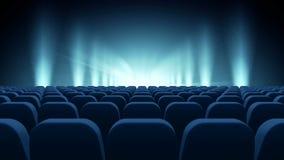 Διάταξη θέσεων μπροστά από το μπλε σκηνικό βίντεο απόθεμα βίντεο