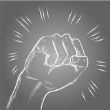 Διάτρηση χεριών ή χτύπημα της απεικόνισης κιμωλίας γραμμών στο μαύρο πίνακα ελεύθερη απεικόνιση δικαιώματος