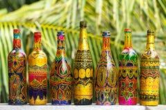 Διάφορα διακοσμητικά χειροποίητα μπουκάλια Στοκ Φωτογραφίες