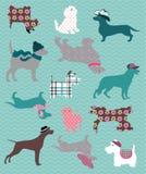 Διάφορα είδη σκυλιών με τα σχέδια Στοκ Εικόνα