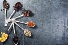 Διάφορα είδη τσαγιού στα κουτάλια στο σκοτεινό υπόβαθρο πλακών Ξηρά κατάταξη τσαγιού στοκ εικόνα