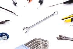 Διάφορα εργαλεία στο καθαρό υπόβαθρο Στοκ Φωτογραφίες