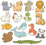 Διάφορα ζώα κινούμενων σχεδίων ελεύθερη απεικόνιση δικαιώματος