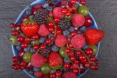 Διάφορα θερινά φρέσκα μούρα σε ένα κύπελλο στον αγροτικό ξύλινο πίνακα Αντιοξειδωτικοοι, detox διατροφή, οργανικά φρούτα Τοπ όψη στοκ εικόνα με δικαίωμα ελεύθερης χρήσης