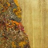 Διάφορα καρυκεύματα στο ξύλο Στοκ Φωτογραφίες