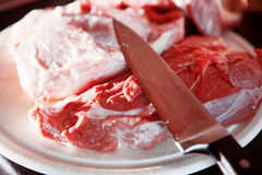 Διάφορα κομμάτια του φρέσκου χοιρινού κρέατος στο τέμνον χαρτόνι Στοκ Εικόνες