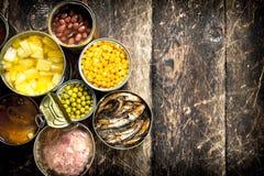 Διάφορα κονσερβοποιημένα λαχανικά, κρέας, ψάρια και φρούτα στα δοχεία κασσίτερου στοκ φωτογραφίες