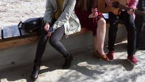Διάφορα κορίτσια και ένας τύπος που παίζει την κιθάρα, κάθονται στον πάγκο και τραγουδούν τα τραγούδια Νεολαία στο καθαρό αέρα απόθεμα βίντεο