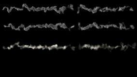 Διάφορα μετεωρίτες ή asteroids, ίχνη της πυρκαγιάς και του καπνού, με την άλφα μάσκα διανυσματική απεικόνιση