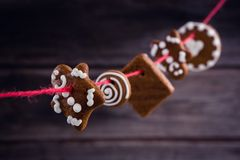 Διάφορα μπισκότα Χριστουγέννων που τακτοποιούνται στο νήμα Στοκ Εικόνα