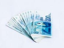 Διάφορα νέα τραπεζογραμμάτια αξίας 200 ισραηλινών νέων Shekel σε ένα άσπρο υπόβαθρο Στοκ φωτογραφία με δικαίωμα ελεύθερης χρήσης