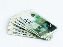 Διάφορα νέα τραπεζογραμμάτια αξίας 50 ισραηλινών νέων Shekel σε ένα άσπρο υπόβαθρο Στοκ φωτογραφία με δικαίωμα ελεύθερης χρήσης
