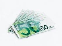 Διάφορα νέα τραπεζογραμμάτια αξίας 50 ισραηλινών νέων Shekel σε ένα άσπρο υπόβαθρο Στοκ Φωτογραφίες