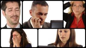 Διάφορα πορτρέτα των ανθρώπων με τις ανησυχημένες εκφράσεις απόθεμα βίντεο