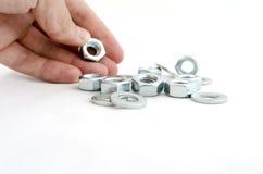 Διάφορα πλυντήρια και καρύδια βιδών μετάλλων Στοκ Εικόνες