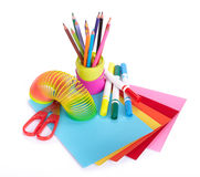 Διάφορα σχολικά εξαρτήματα στη δημιουργικότητα των παιδιών στοκ εικόνες με δικαίωμα ελεύθερης χρήσης