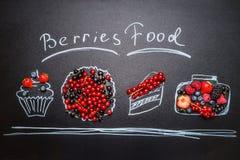 Διάφορα χρωματισμένα τρόφιμα μούρων με τα φρέσκα μούρα και τη χειρόγραφη εγγραφή κειμένων Στοκ Φωτογραφία