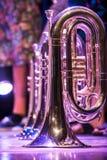 Διάφορα όργανα και λεπτομέρειες από μια ζώνη μουσικής της ορχήστρας πνευστών στοκ εικόνες