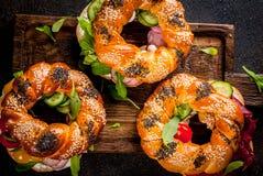 Διάφορα bagels σάντουιτς Στοκ εικόνες με δικαίωμα ελεύθερης χρήσης