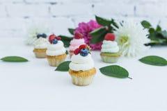 Διάφορα cupcakes με τα φρέσκα λουλούδια και τα φύλλα μούρων Στοκ φωτογραφία με δικαίωμα ελεύθερης χρήσης