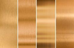 Διάφορες βουρτσισμένες συστάσεις μετάλλων χαλκού καθορισμένες στοκ φωτογραφία