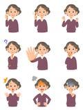 Διάφορες εκφράσεις του προσώπου μιας ηλικιωμένης γυναίκας απεικόνιση αποθεμάτων