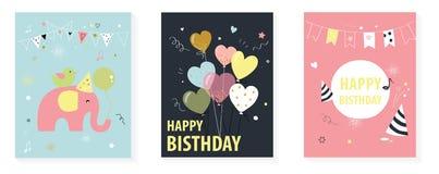 Διάφορες φωτεινές αφίσες με τους χαιρετισμούς χρόνια πολλά ελεύθερη απεικόνιση δικαιώματος