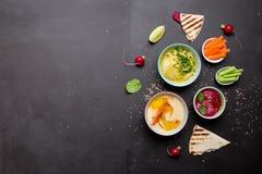 Διάφορες χορτοφάγες ζωηρόχρωμες εμβυθίσεις με το ψωμί pita Στοκ φωτογραφία με δικαίωμα ελεύθερης χρήσης