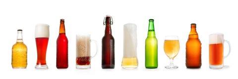 Διάφορη συλλογή μπύρας που απομονώνεται στο λευκό Στοκ εικόνα με δικαίωμα ελεύθερης χρήσης