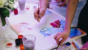 Διάφοροι άνθρωποι επισύρουν την προσοχή τις όμορφες γάτες κινούμενων σχεδίων στον καμβά Χρώματα Watercolor o φιλμ μικρού μήκους