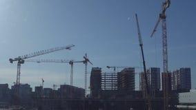 Διάφοροι γερανοί κατασκευής σε ένα σαφές κλίμα μπλε ουρανού απόθεμα βίντεο