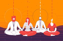 Διάφοροι εργαζόμενοι γραφείων στον έξυπνο ιματισμό κάθονται στη θέση γιόγκας και meditate Έννοια της επιχειρησιακής περισυλλογής, ελεύθερη απεικόνιση δικαιώματος