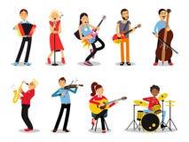 Διάφοροι μουσικοί, χαρακτήρες στην επίπεδη απεικόνιση ύφους Στοκ Εικόνα