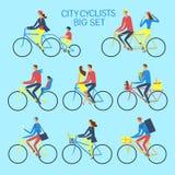 Διάφοροι ποδηλάτες πόλεων τρόπου ζωής καθορισμένοι Στοκ φωτογραφία με δικαίωμα ελεύθερης χρήσης