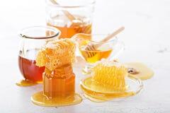 Διάφοροι τύποι μελιών και κηρηθρών στοκ εικόνες με δικαίωμα ελεύθερης χρήσης