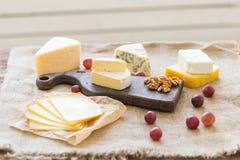 Διάφοροι τύποι τυριού, μπλε τυριών και brie με τα σταφύλια και τα καρύδια στοκ εικόνα
