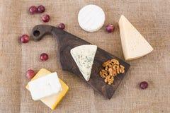 Διάφοροι τύποι τυριού, μπλε τυριών και brie με τα σταφύλια και τα καρύδια στοκ φωτογραφία με δικαίωμα ελεύθερης χρήσης