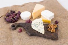 Διάφοροι τύποι τυριού, μπλε τυριών και brie με τα σταφύλια και τα καρύδια στοκ εικόνες