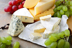 Διάφοροι τύποι τυριών με τα σταφύλια στην πλάκα στοκ φωτογραφία με δικαίωμα ελεύθερης χρήσης