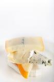 Διάφοροι τύποι τυριών σε ένα πιάτο στοκ εικόνα με δικαίωμα ελεύθερης χρήσης